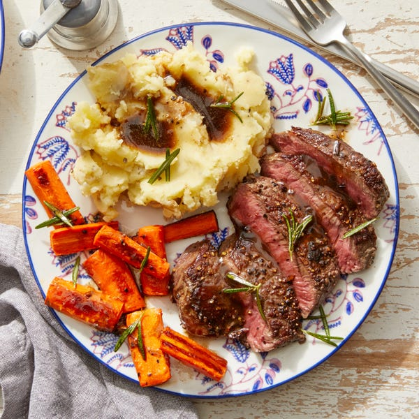 Steaks & Brown Butter Sauce with Mashed Potatoes  & Fried Rosemary