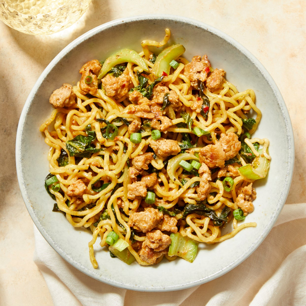 Sichuan-Style Pork & Noodles with Baby Bok Choy