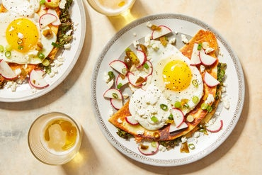 Kale & Monterey Jack Quesadillas with Spicy Radish Salsa & Fried Eggs