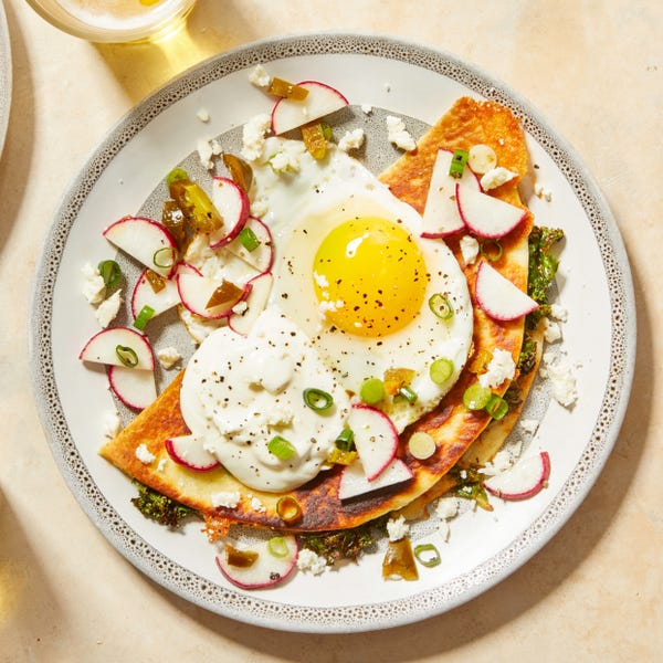 Kale & Monterey Jack Quesadillas with Spicy Radish Salsa & Fried Eggs