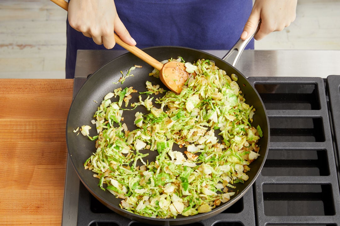 Cook the brussels sprouts: