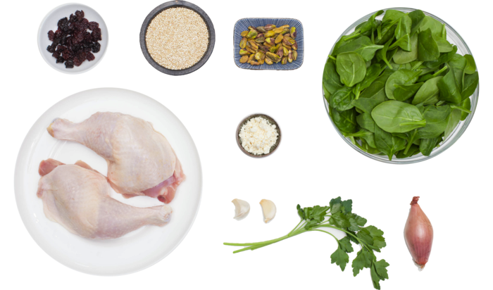 Pan-Seared Chicken with Dried Cherry & Pistachio Quinoa ingredients