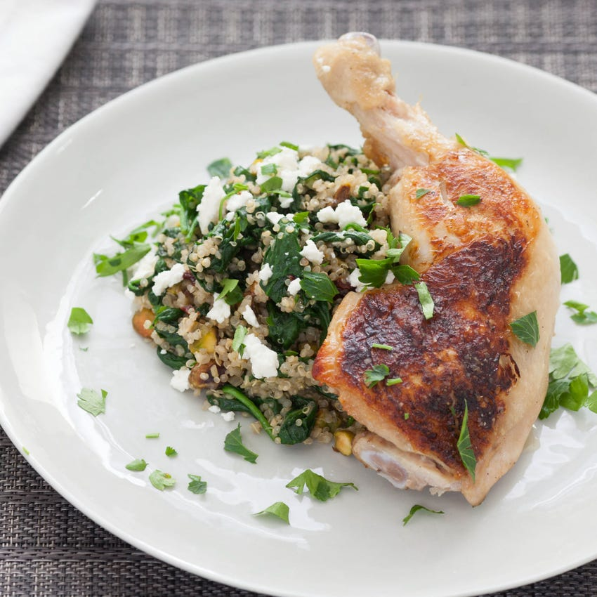 Pan-Seared Chicken with Dried Cherry & Pistachio Quinoa