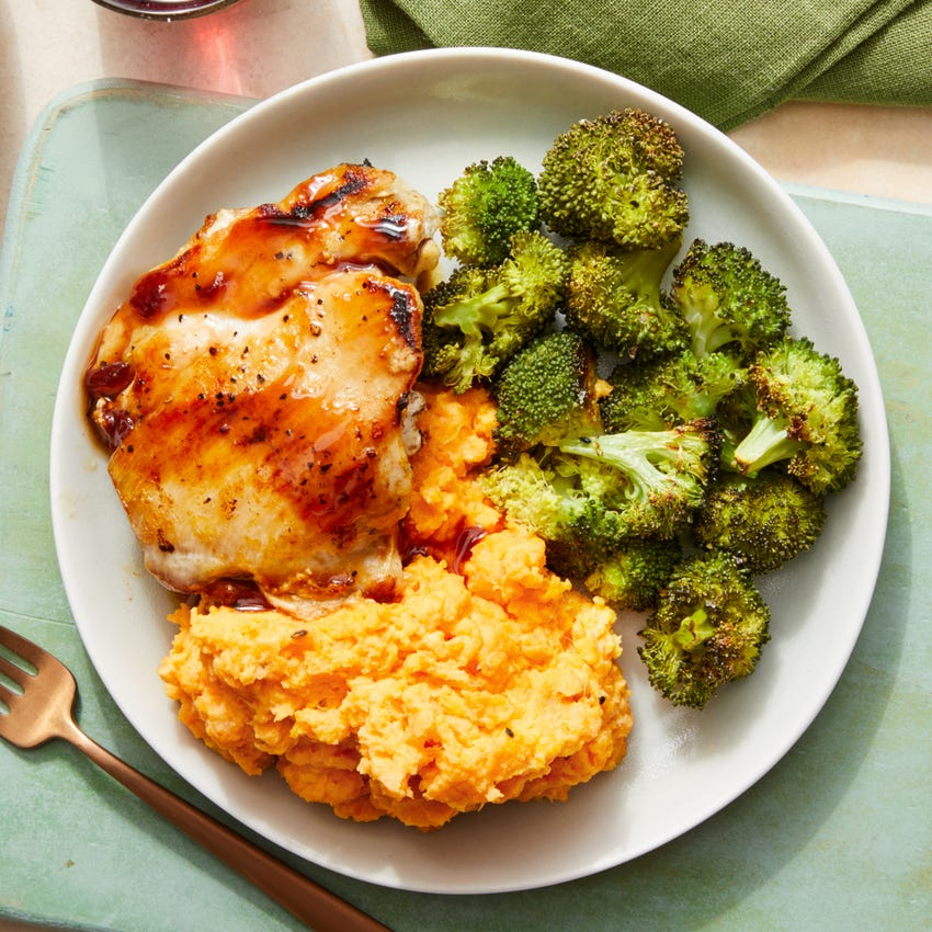 Seared Chicken & Sour Cherry Sauce with Creamy Mashed Sweet Potatoes & Roasted Broccoli