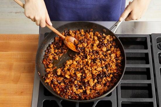 Cook the pork & beans: