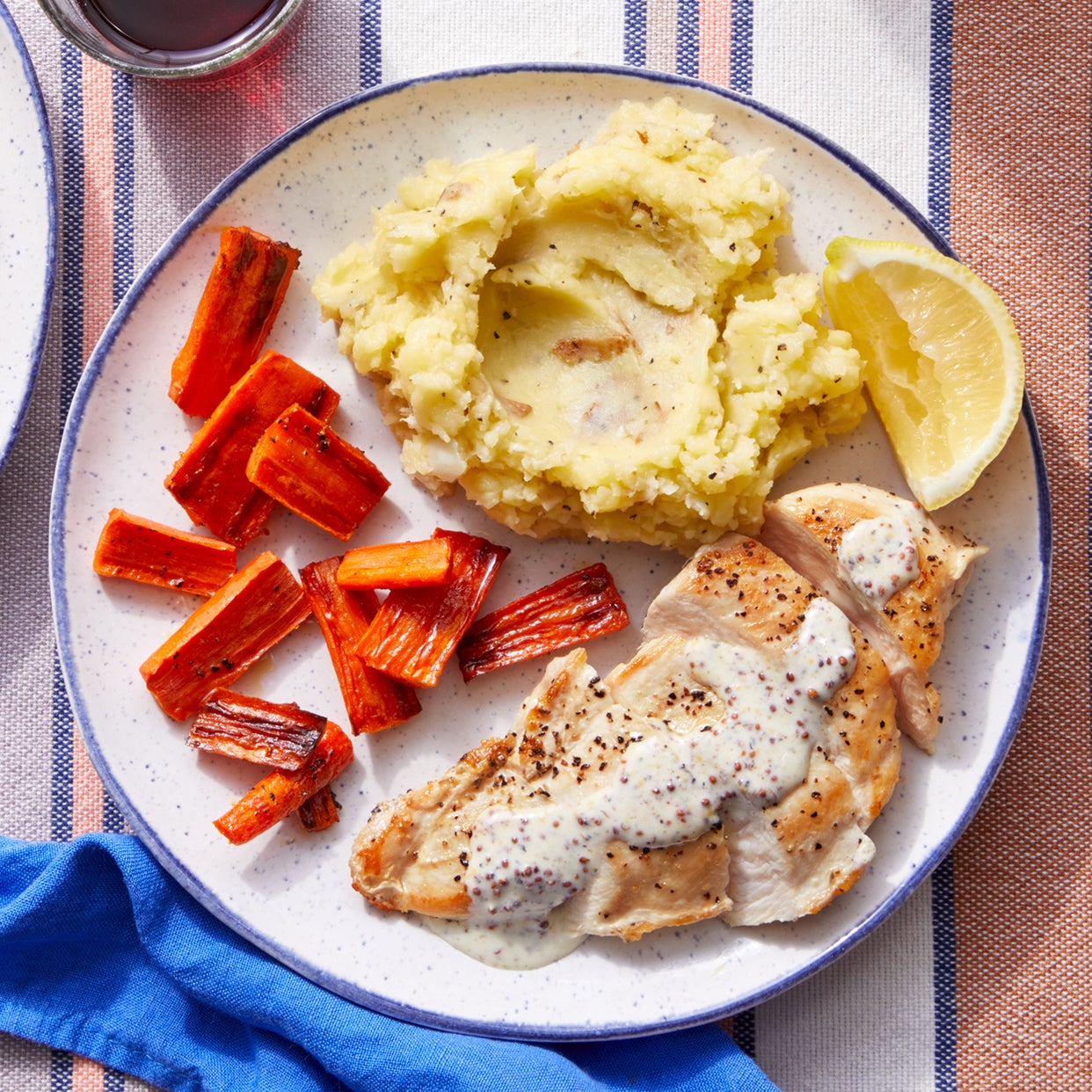 Lemon-Dijon Chicken with Mashed Potatoes & Roasted Carrots