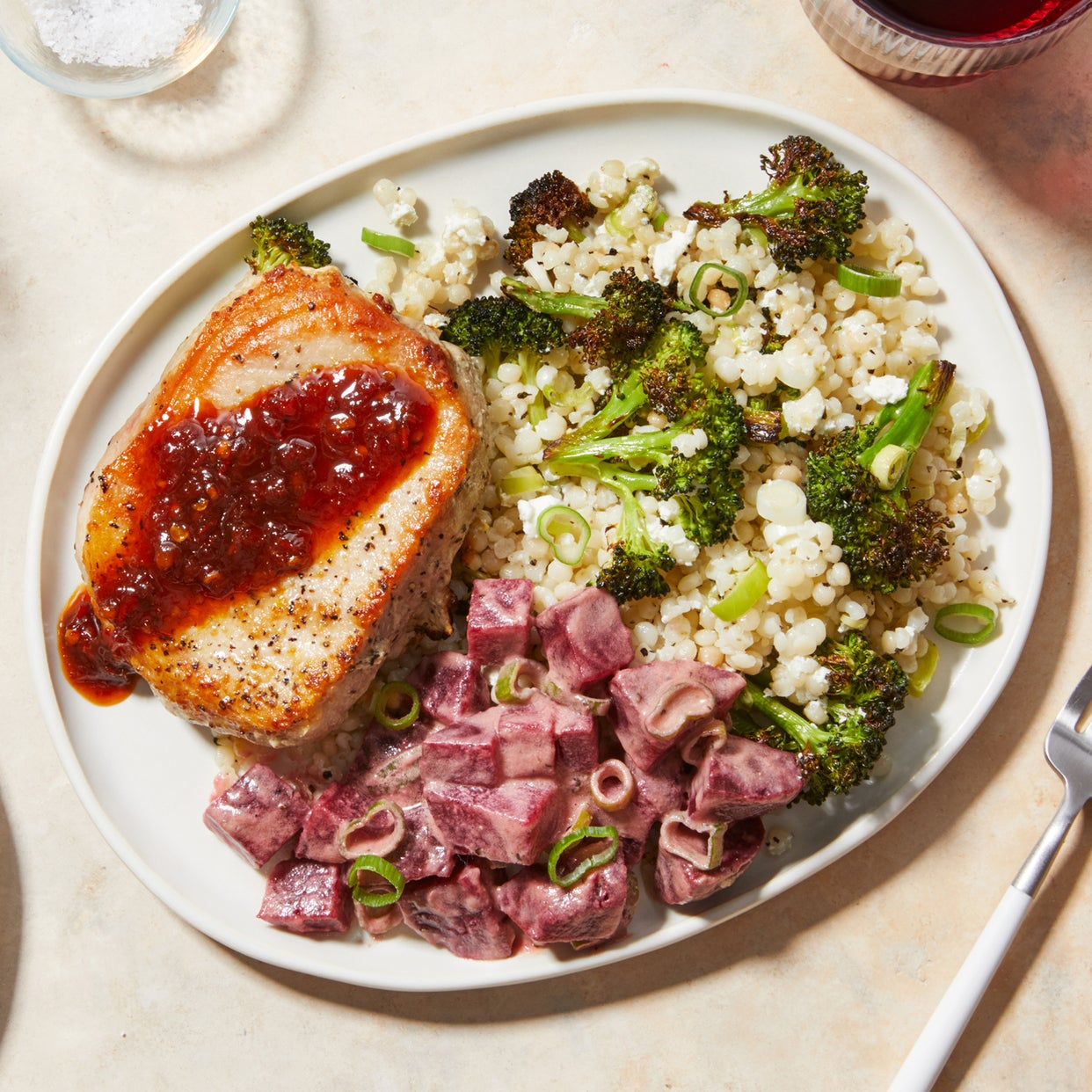 Maple-Harissa Pork Chops with Roasted Broccoli & Pearl Couscous