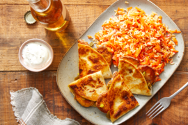 Sweet Potato & Jalapeño Quesadillas with Brown Rice Salad & Lemon Yogurt