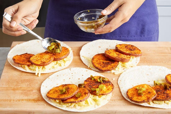 Assemble & cook the quesadillas: