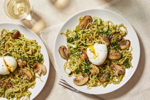 Cilantro-Miso Noodles with Soft-Boiled Eggs & Sesame Seeds