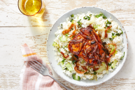 Chinese BBQ Pork Chops with Aromatic Bok Choy Rice