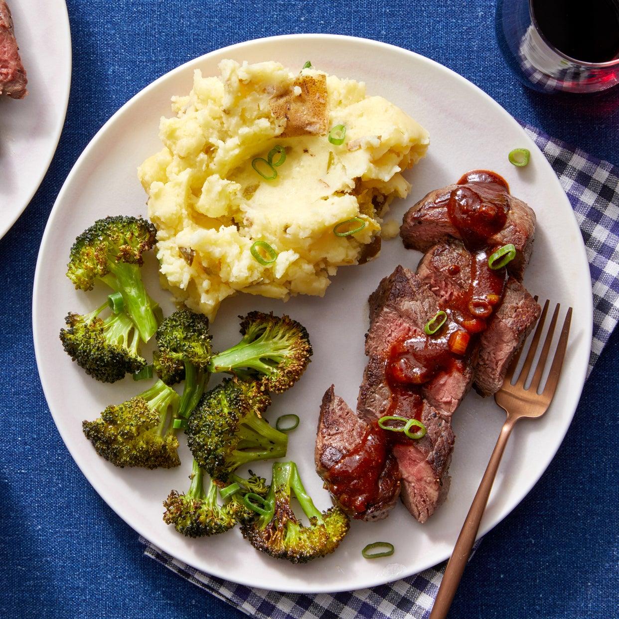 Seared Steaks & Loaded Mashed Potatoes with Roasted Broccoli & Guajillo-Honey Sauce