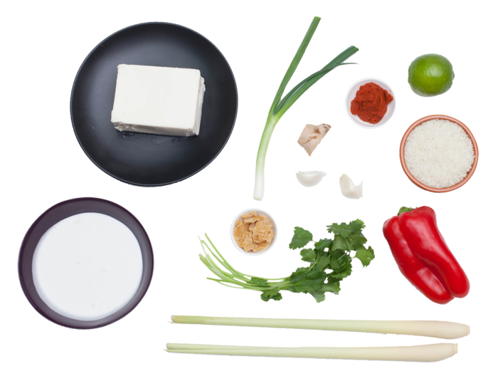 Coconut-Poached Tofu with Lemongrass and Red Curry ingredients