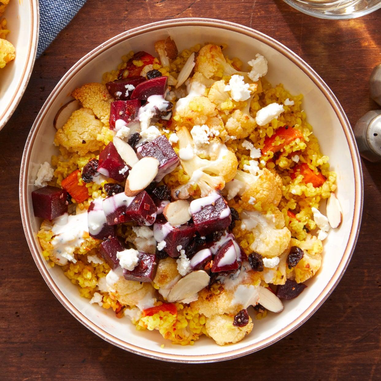 Mediterranean Grain Bowl with Harissa-Roasted Vegetables & Labneh Sauce