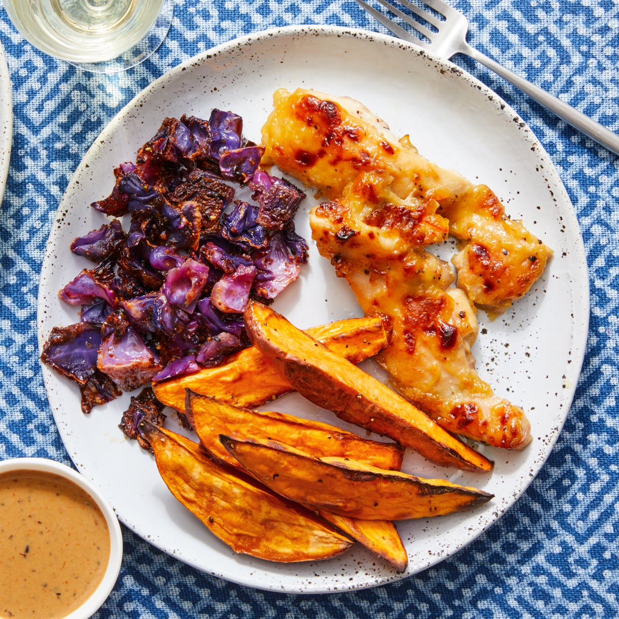 Orange-Miso Chicken with Togarashi Cabbage, Sweet Potatoes, & Black Bean Mayo
