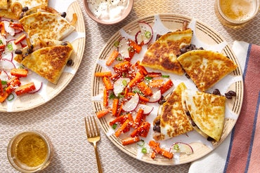 Cheesy Chipotle Black Bean Quesadillas with Caramelized Onion & Carrot Salad
