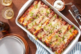 Cheesy Veggie Enchiladas with Mushrooms, Kale, & Mexican Rice