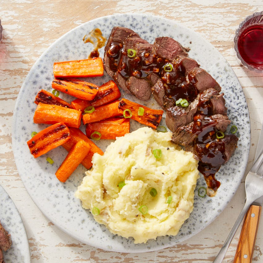 Seared Steaks & Mashed Potatoes with Roasted Carrots & Homemade Steak Sauce