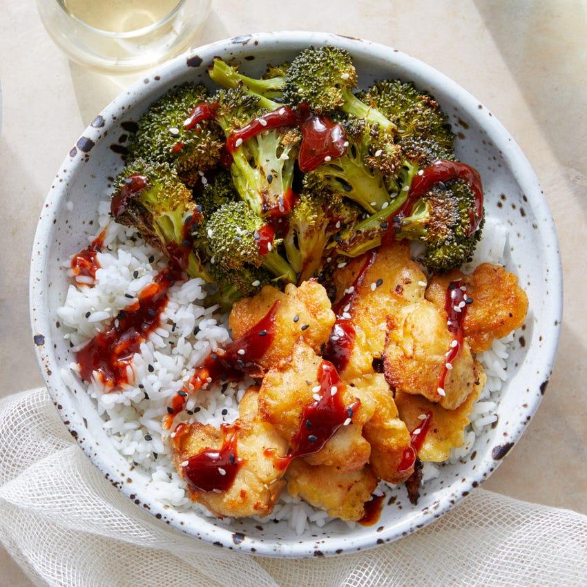 Korean-Style Popcorn Chicken with Jasmine Rice & Roasted Broccoli