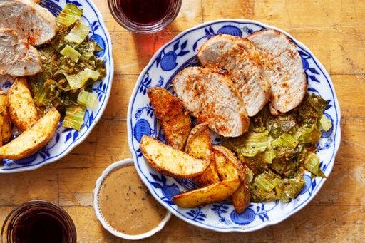 Sheet Pan Miso Pork with Bok Choy & Togarashi Potatoes