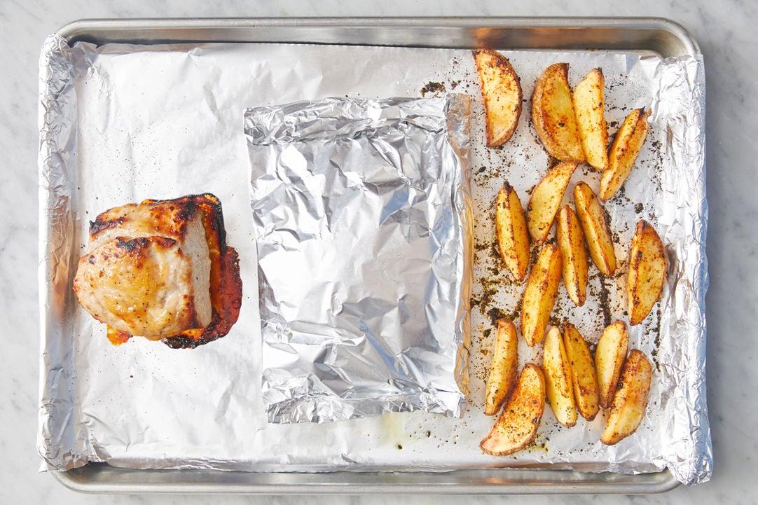 Roast the pork & vegetables: