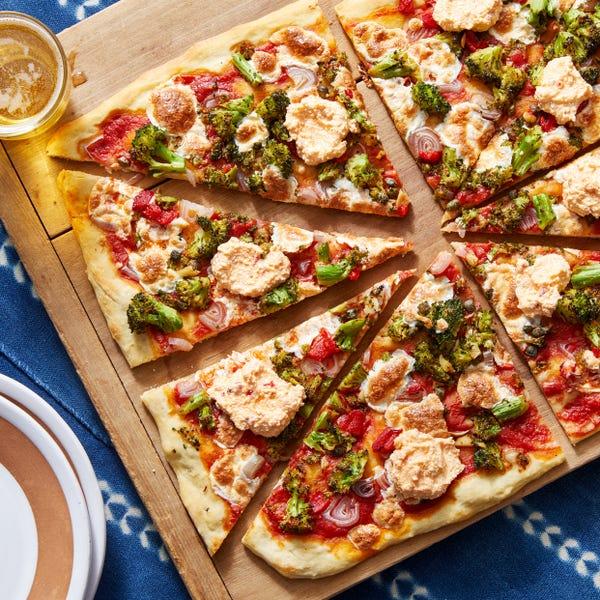Broccoli & Mozzarella Pizza with Calabrian Chile Ricotta