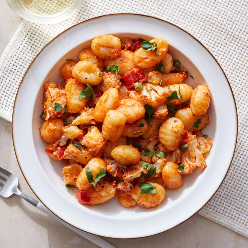 Spicy Tomato Gnocchi with Roasted Cauliflower