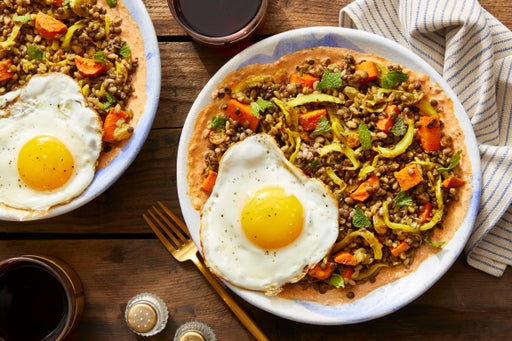 Curry-Spiced Vegetables, Lentils, & Farro with Fried Eggs & Spiced Tomato Labneh