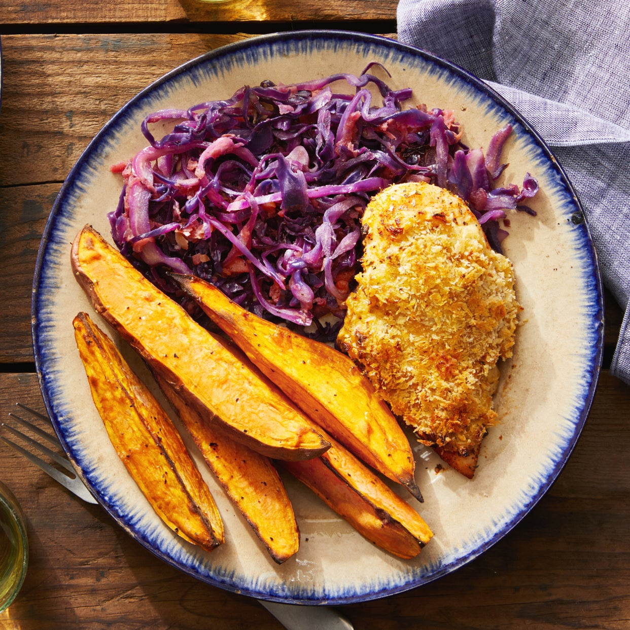 Creamy Onion Baked Chicken with Sautéed Red Cabbage & Apple
