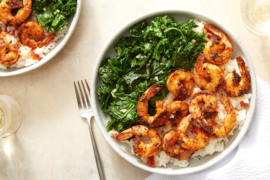 Cajun-Spiced Shrimp over Creamy Rice with Sautéed Kale