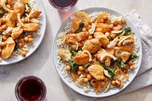 Creamy Harissa Chicken over Brown Rice