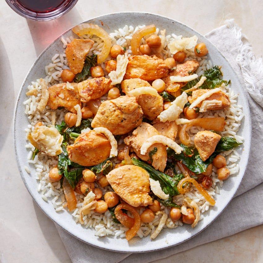 Creamy Harissa Chicken over Brown Rice