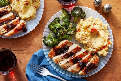 Pork Chops & Sour Cherry-Balsamic Sauce with Cheesy Mashed Potatoes