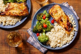 Sheet Pan Miso Salmon with Sesame Rice & Roasted Broccoli