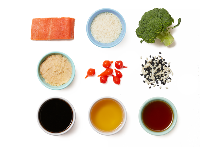 Sheet Pan Miso Salmon with Sesame Rice & Roasted Broccoli