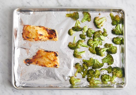 Roast the fish & broccoli: