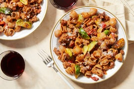 Beef & Red Pepper Pasta with Brussels Sprouts