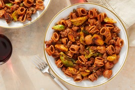 Whole Grain Pasta & Beef Ragù with Brussels Sprouts