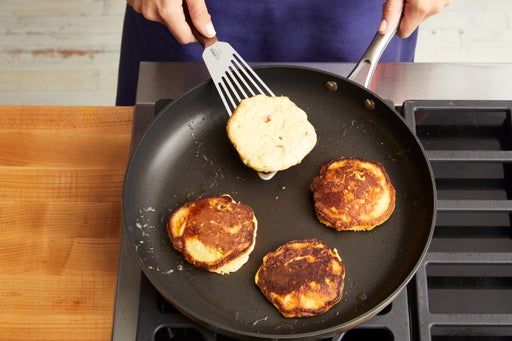 Make batter & cook the corn cakes: