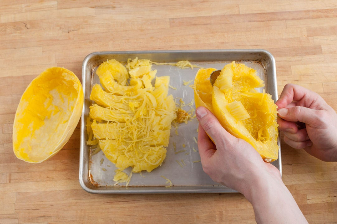 Break the squash into strands: