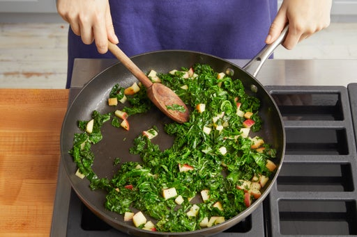 Brown the butter & cook the kale: