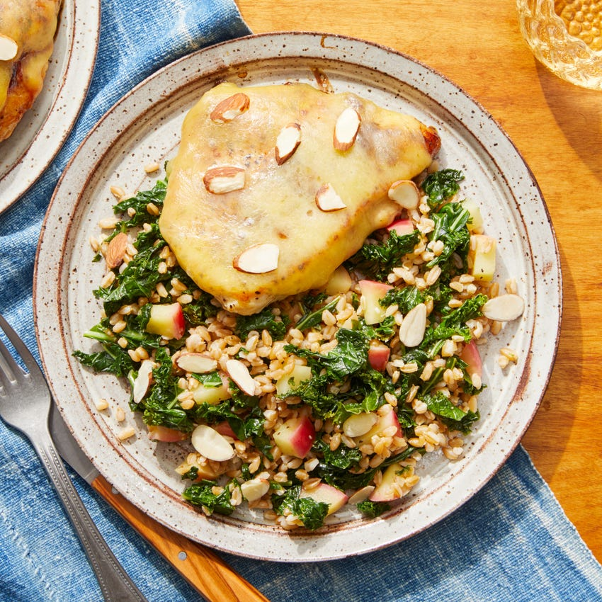 White Cheddar & Cherry Chicken with Kale, Apple, & Farro Salad