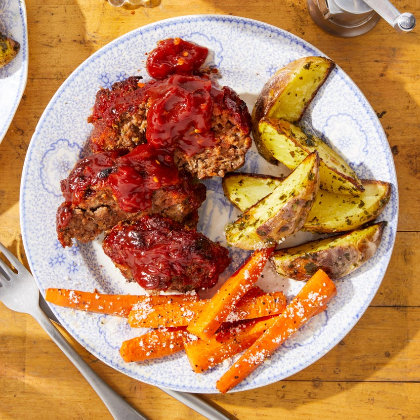 Italian Meatloaf with Salsa Verde Potatoes & Roasted Carrots