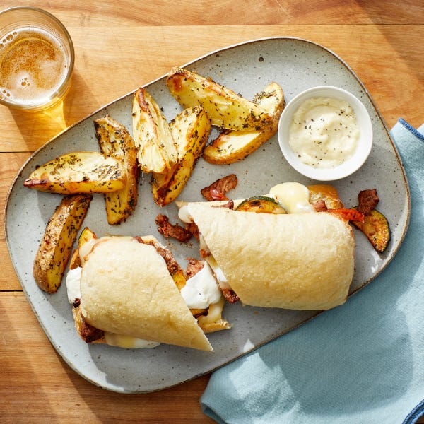 Italian Beef & Cheese Sandwiches with Roasted Potato Wedges  & Garlic Mayo