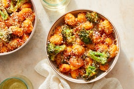 Gnocchi in Creamy Tomato Sauce with Roasted Broccoli & Breadcrumbs