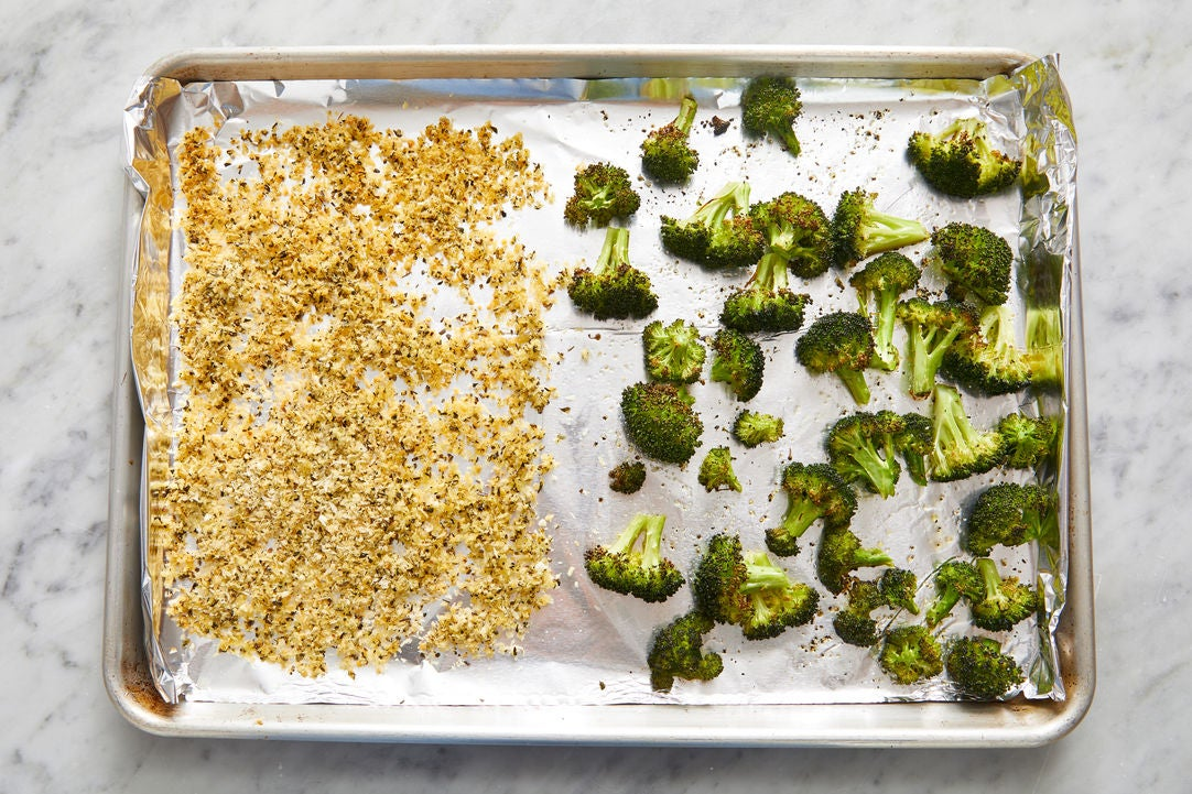 Toast the breadcrumbs & finish the broccoli: