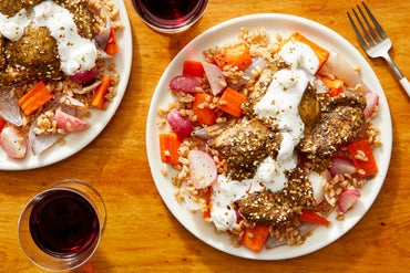 Za'atar-Roasted Chicken with Warm Farro Salad & Feta-Yogurt Dressing