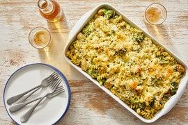 Creamy Pesto Baked Chicken & Noodles with Broccoli & Fontina