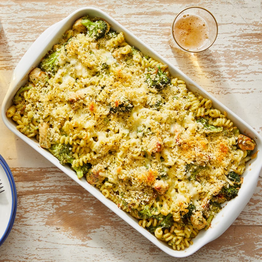 Creamy Pesto Baked Chicken & Noodles with Broccoli & Fontina