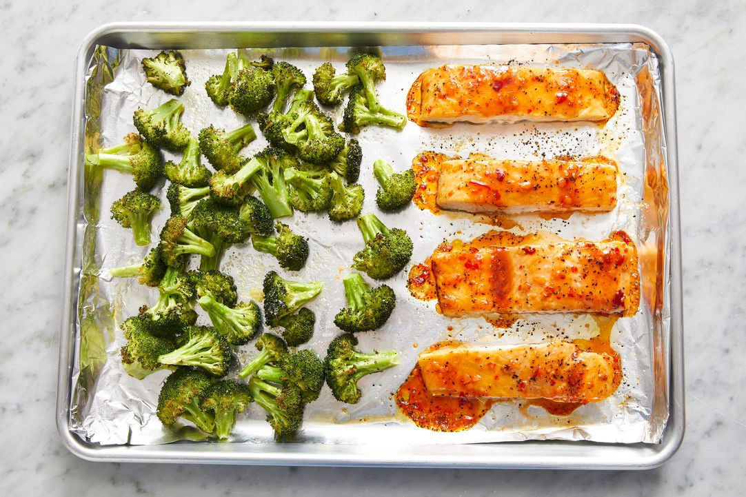 Roast the broccoli & fish: